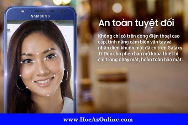 Tính năng cảm biến vân tay và nhận diện khuôn mặt đã có trên Samsung Galaxy J7 Duo